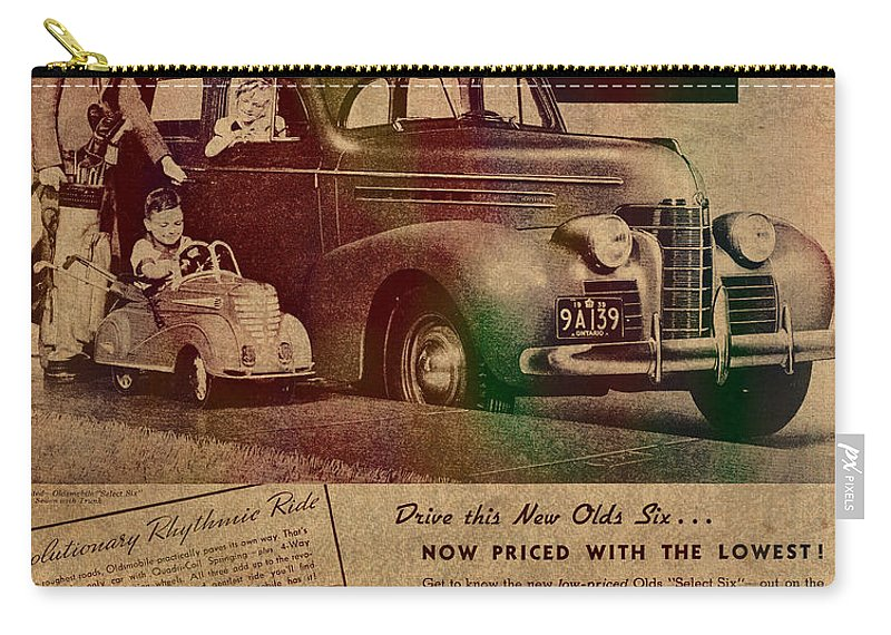 Vintage Carry-all Pouch featuring the mixed media Vintage Car Advertisement 1939 Oldsmobile On Worn Faded Paper by Design Turnpike