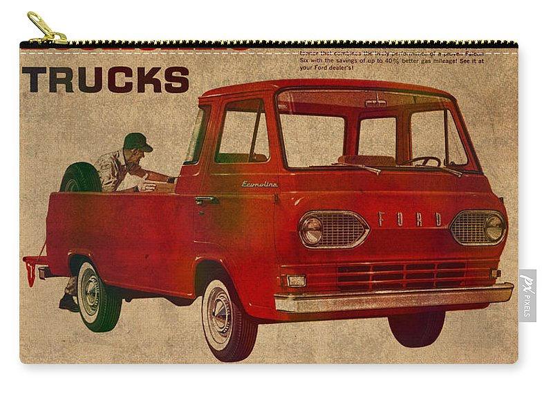 Vintage Carry-all Pouch featuring the mixed media Vintage Car Advertisement 1961 Ford Econoline Truck Ad Poster On Worn Faded Paper by Design Turnpike