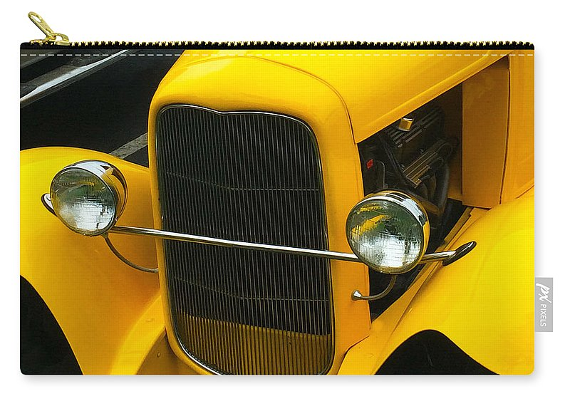 Vintage Car Yellow Detail Carry-all Pouch featuring the digital art Vintage Car Yellow Detail by Barbara Snyder
