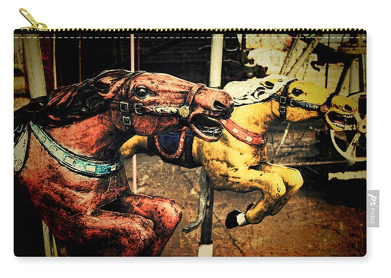 Carousel Carry-all Pouch featuring the photograph Vintage Carousel Horses 002 by Tony Grider
