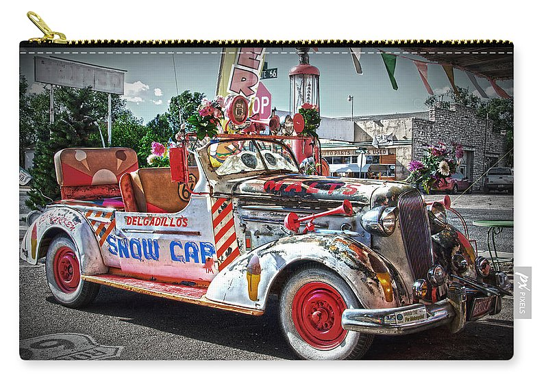 Car Carry-all Pouch featuring the photograph Vintage Chevrolet In Seligman by RicardMN Photography