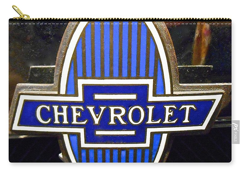 American Vintage Cars Carry-all Pouch featuring the photograph Vintage Chevrolet Logo by Joan Reese
