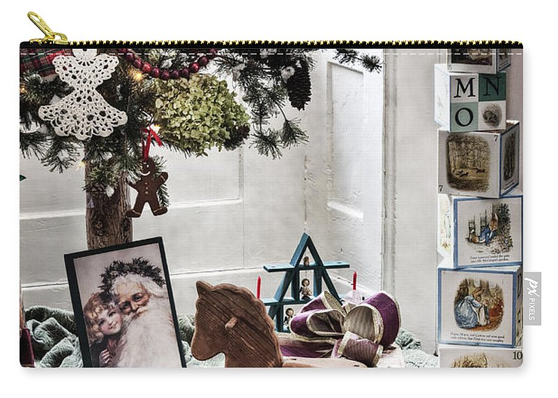 Room; Toys; Christmas; Tree; Decorations; Gifts; Seasonal; Wood; Floor; Rocking Horse; Blocks; Vintage; Old; Presents; Santa Claus; Room; Inside; Indoors; House; Home; Still Life Carry-all Pouch featuring the photograph Vintage Christmas by Margie Hurwich