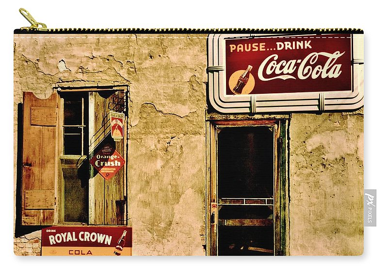 Coke Carry-all Pouch featuring the photograph Vintage Colas by Benjamin Yeager