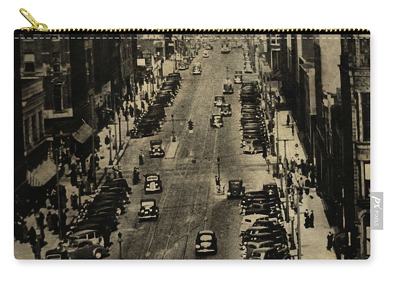 Vintage Downtown View Carry-all Pouch featuring the photograph Vintage Downtown View by Dan Sproul