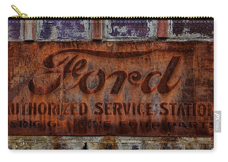 Vintage Carry-all Pouch featuring the photograph Vintage Ford Authorized Service Sign by Alan Hutchins