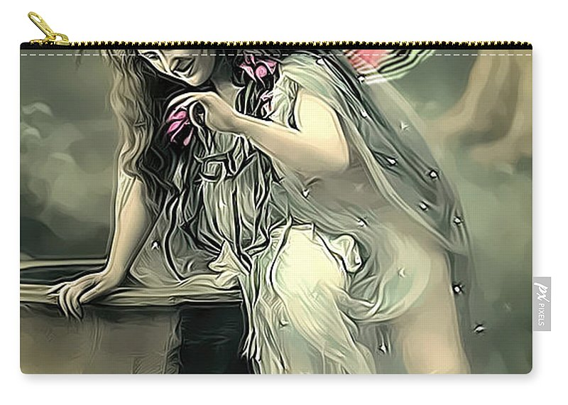 Vintage Carry-all Pouch featuring the photograph Vintage Garden Nymph by Lesa Fine
