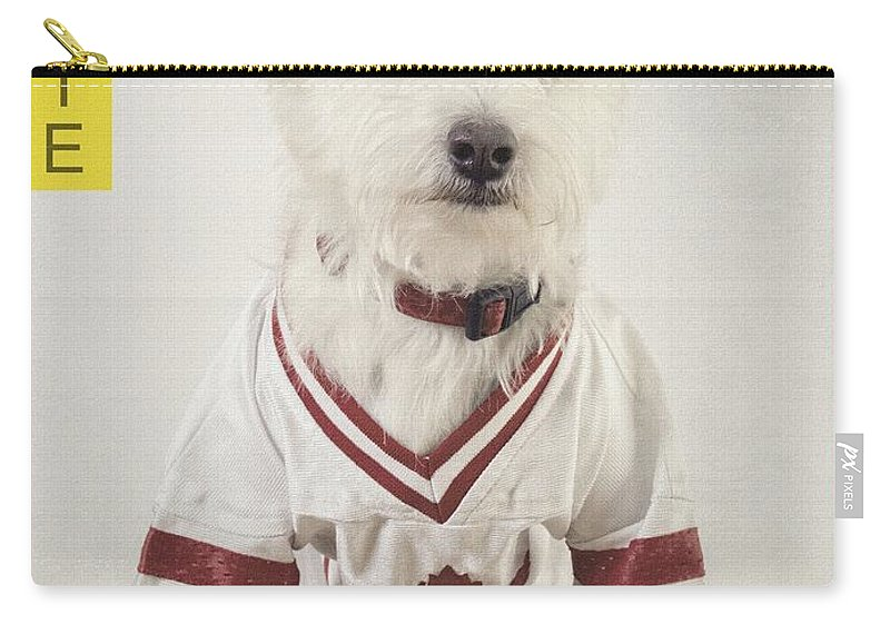 Dog Carry-all Pouch featuring the photograph Vintage Hockey Rookie Player Card by Edward Fielding