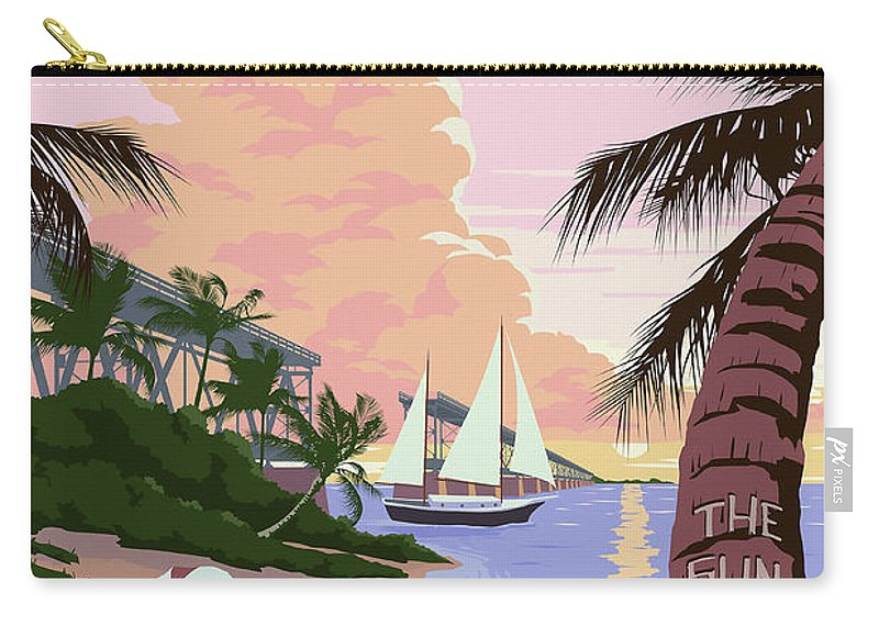Vintage Key West Travel Poster Carry-all Pouch featuring the drawing Vintage Key West Travel Poster by Jon Neidert