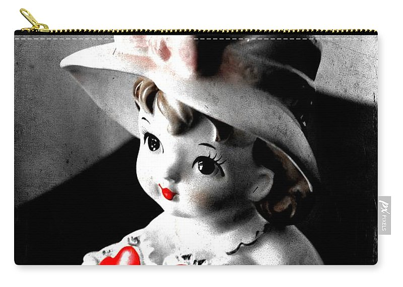 Lady Head Vase Carry-all Pouch featuring the photograph Vintage Lady Head Vase - Black And White With Red by Carol Groenen