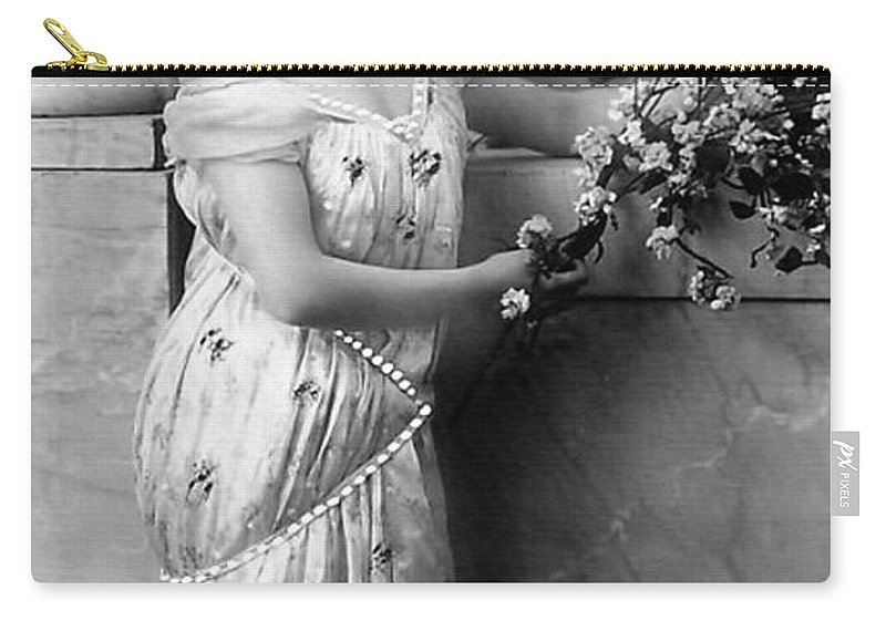 Vintage Reproduction Carry-all Pouch featuring the photograph Vintage Lady I Bw Limited Sizes by Lesa Fine