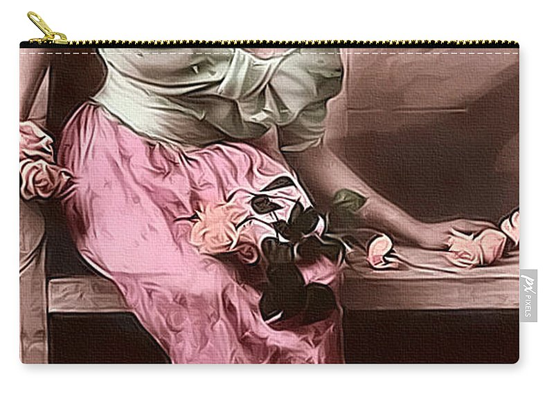 Vintage Carry-all Pouch featuring the mixed media Vintage Lady Rose Limited Sizes by Lesa Fine