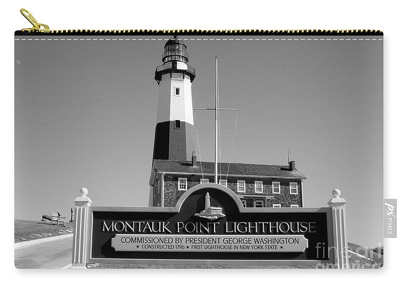 Vintage Looking Montauk Lighthouse Carry-all Pouch featuring the photograph Vintage Looking Montauk Lighthouse by John Telfer