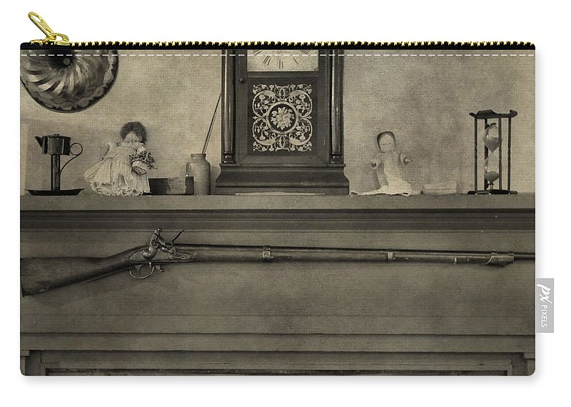 Vintage Muzzleloader Over Fireplace Carry-all Pouch featuring the photograph Vintage Muzzleloader Over Fireplace by Dan Sproul