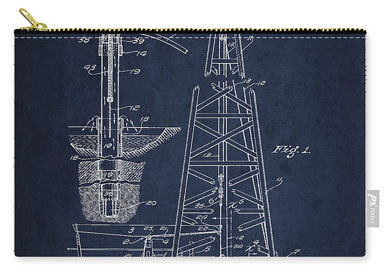Oil Carry-all Pouch featuring the digital art Vintage Oil Drilling Rig Patent From 1911 by Aged Pixel