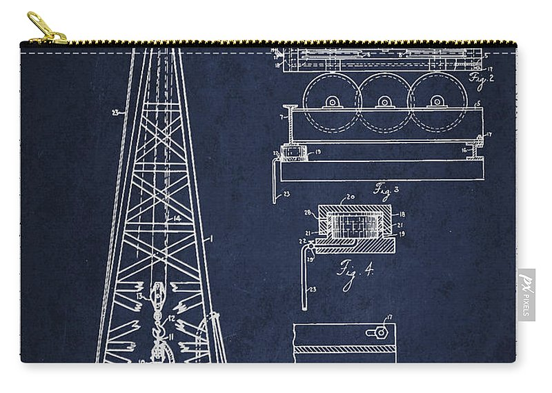 Oil Carry-all Pouch featuring the digital art Vintage Oil Drilling Rig Patent From 1916 by Aged Pixel