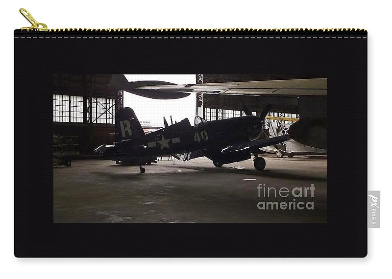 Vintage Airplane Hangar Silhouette Carry-all Pouch featuring the photograph Vintage Planes Silhouette by Susan Garren