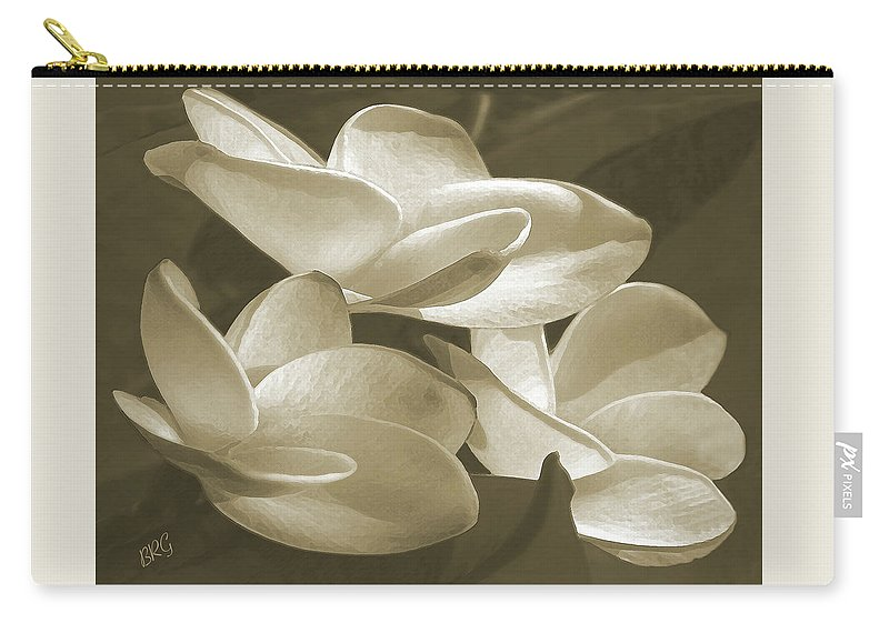 Plumeria Carry-all Pouch featuring the photograph Vintage Plumeria Trio by Ben and Raisa Gertsberg