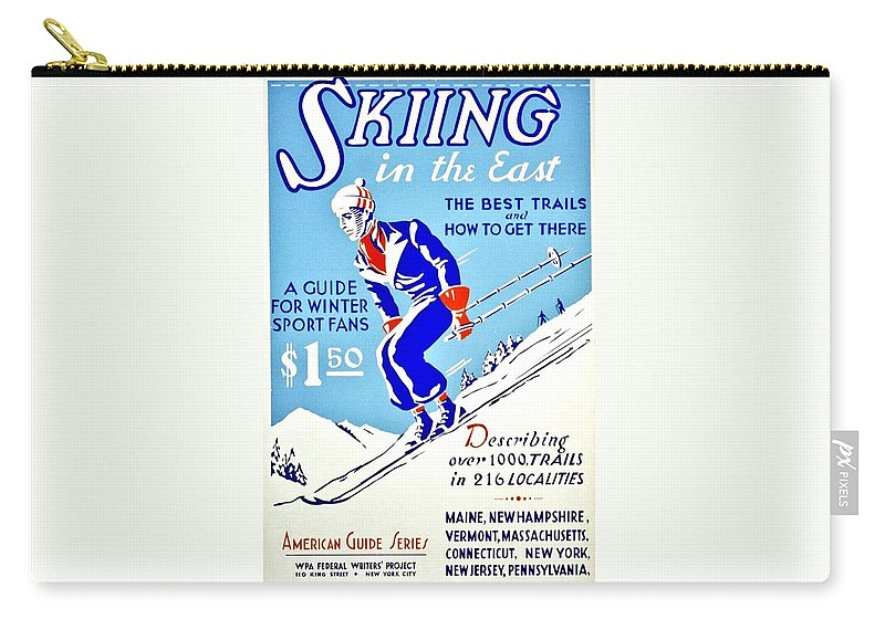 Vintage Carry-all Pouch featuring the photograph Vintage Poster - Sports - Skiing by Benjamin Yeager