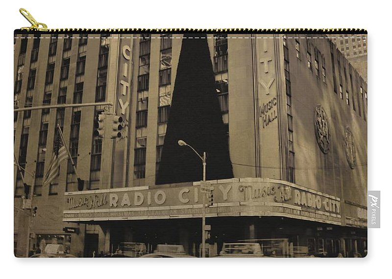Vintage Radio City Music Hall Carry-all Pouch featuring the photograph Vintage Radio City Music Hall by Dan Sproul
