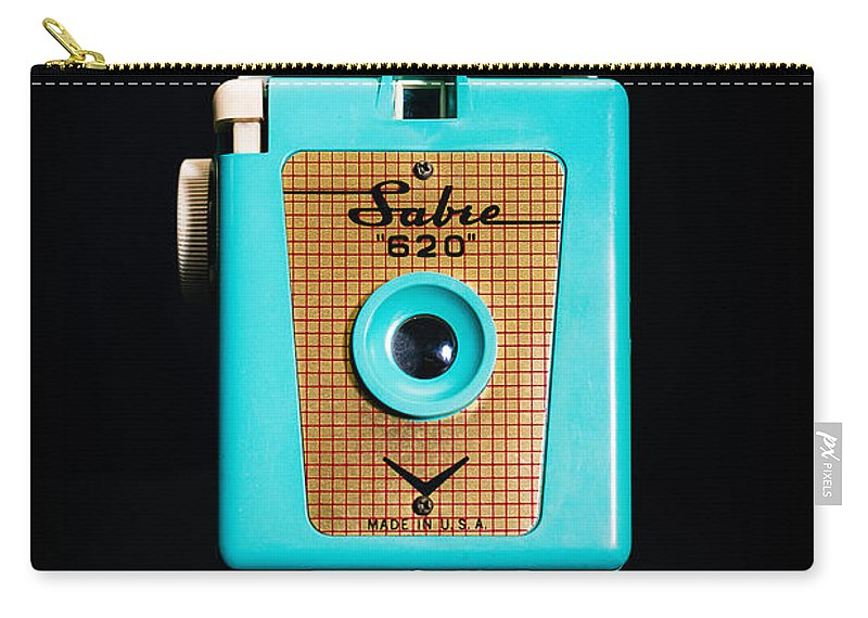 Aqua Carry-all Pouch featuring the photograph Vintage Sabre 620 Camera by Jon Woodhams