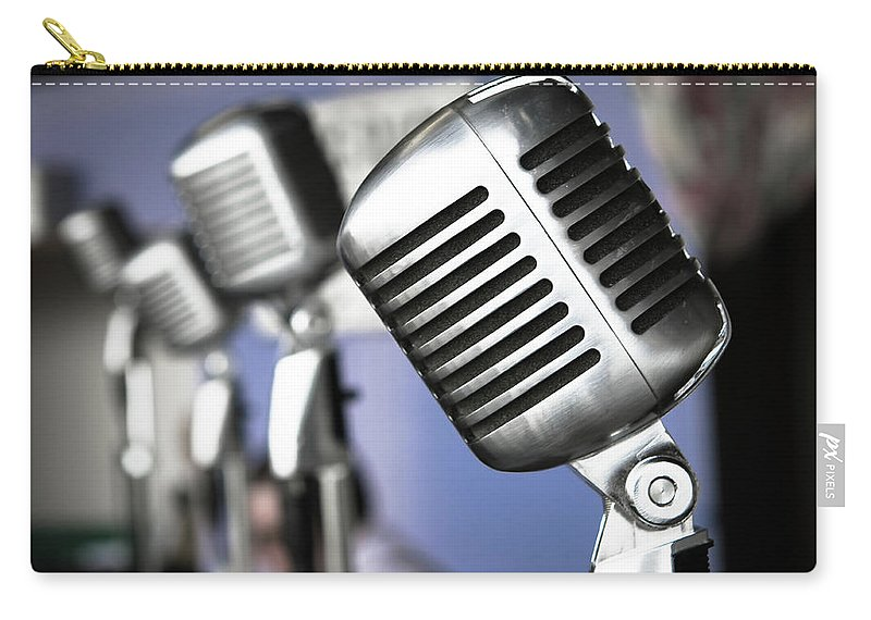 Music Carry-all Pouch featuring the photograph Vintage Standing Radio Microphones by Photo By Brian T. Evans