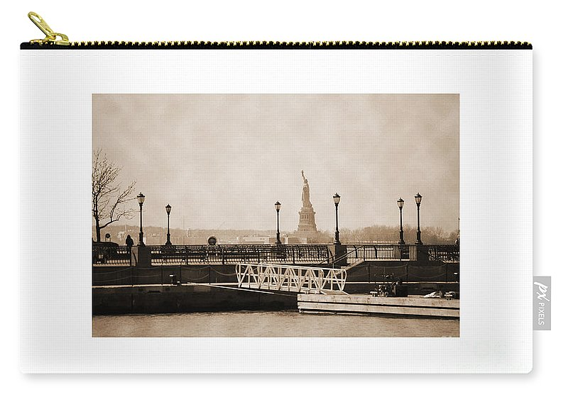 Bw Carry-all Pouch featuring the photograph Vintage Statue Of Liberty View by RicardMN Photography