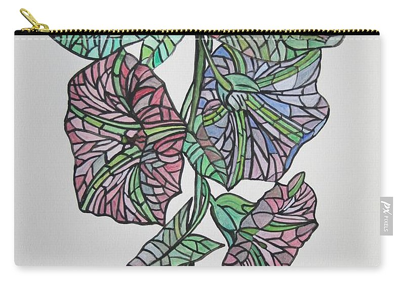Morning Glory Carry-all Pouch featuring the painting Vintage Style Stained Glass Morning Glory by Taiche Acrylic Art
