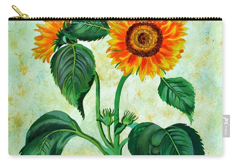 Sunflowers Carry-all Pouch featuring the painting Vintage Sunflowers by Taiche Acrylic Art