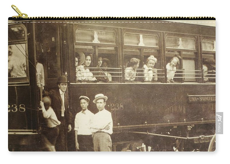 Vintage Train All Aboard Carry-all Pouch featuring the photograph Vintage Train All Aboard by Dan Sproul