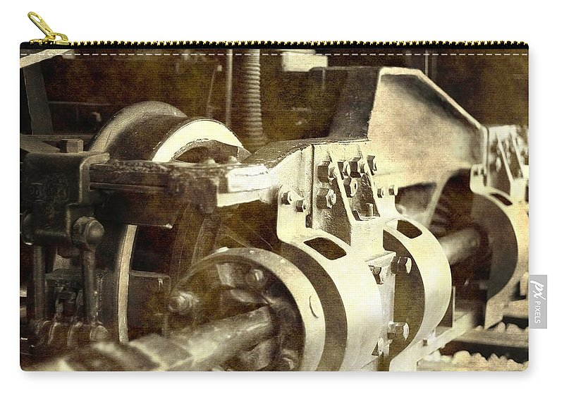 Vintage Train Wheel Carry-all Pouch featuring the photograph Vintage Train Wheel by Dan Sproul