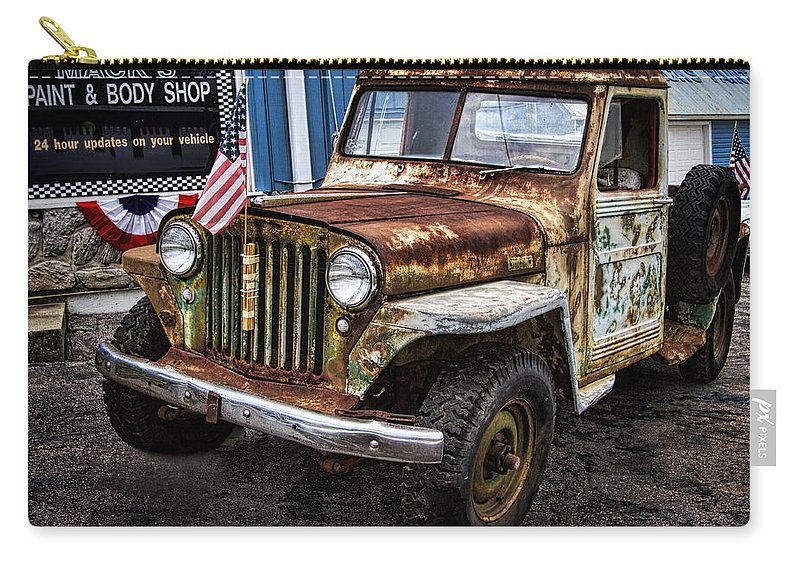 Willy's Carry-all Pouch featuring the photograph Vintage Willy's Jeep Pickup Truck by Kathy Clark