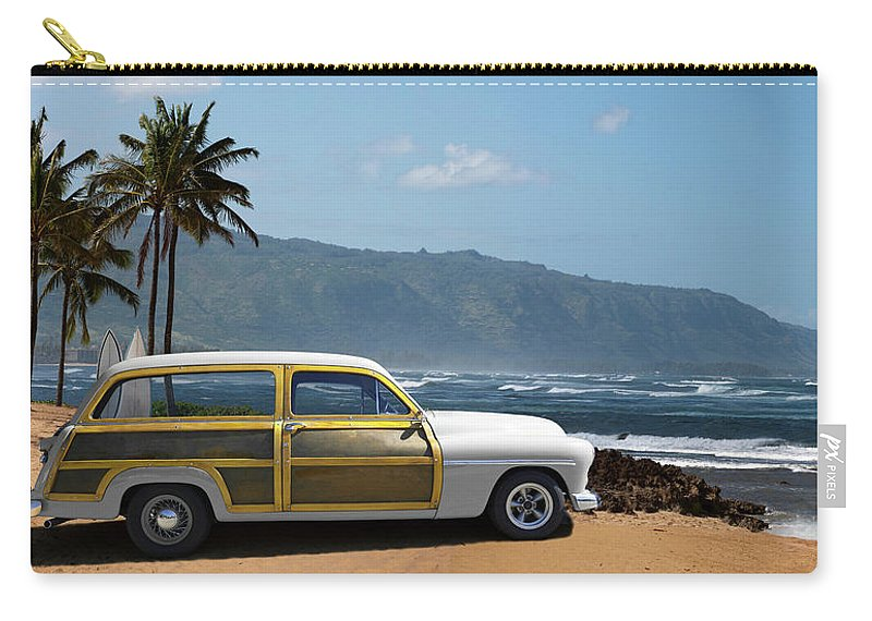 Haleiwa Carry-all Pouch featuring the photograph Vintage Woody On Hawaiian Beach by Ed Freeman