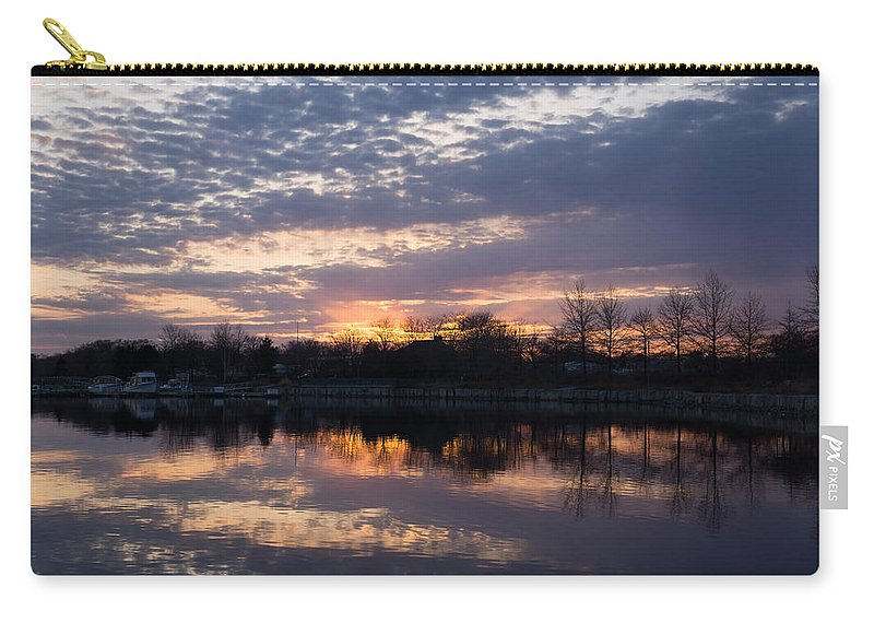 Violet Twilight Carry-all Pouch featuring the photograph Violet Twilight On The Lake by Georgia Mizuleva