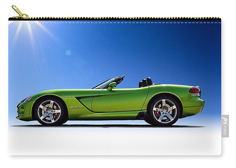 Green Carry-all Pouch featuring the digital art Viper Roadster by Douglas Pittman