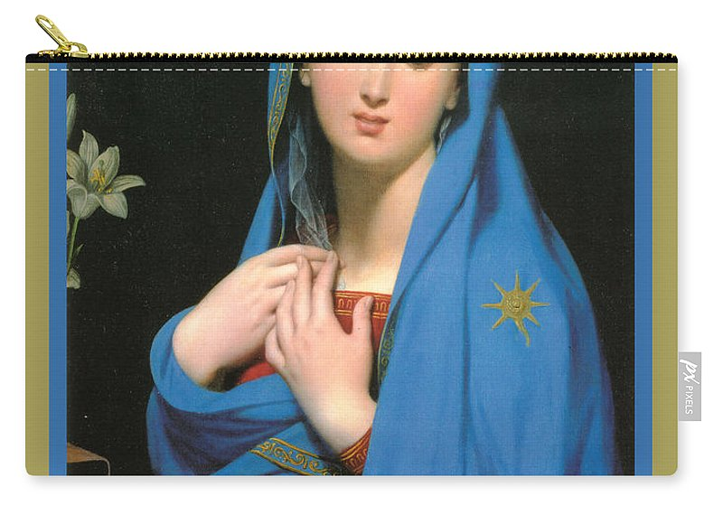 Virgin Of The Adoption Poster Carry-all Pouch featuring the digital art Virgin Of The Adoption Poster by Jean Auguste Dominique Ingress