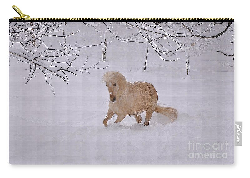 Horse Carry-all Pouch featuring the photograph Viva Zapata Contratercero Dances In The Snow by Patricia Keller