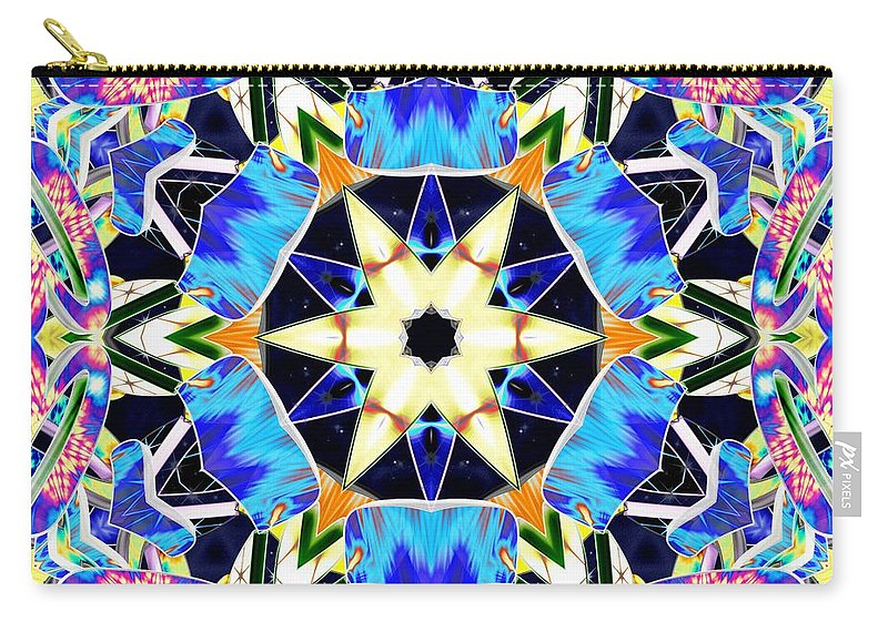 Sacredlife Mandalas Carry-all Pouch featuring the digital art Vivid Luminescence by Derek Gedney