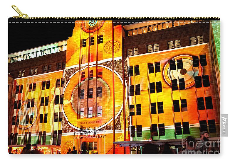 Photography Carry-all Pouch featuring the photograph Vivid Sydney 2014 - Museum Of Contemporary Arts 2 By Kaye Menner by Kaye Menner