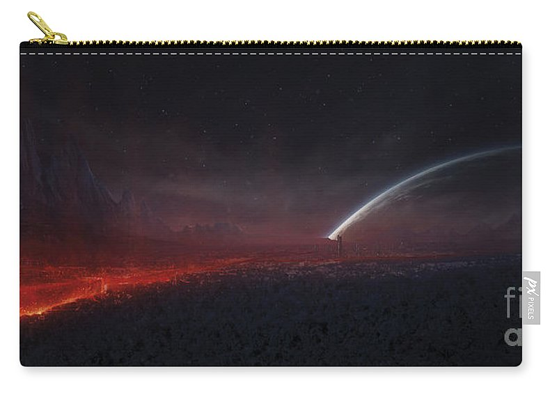 Panoramic Carry-all Pouch featuring the digital art Volcanic Eruption Within A City by Tobias Roetsch
