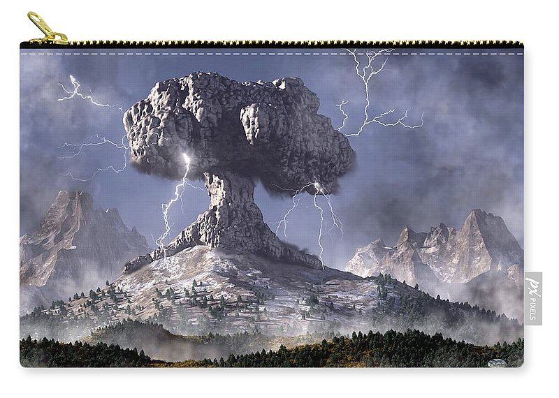 Volcano Carry-all Pouch featuring the digital art Volcano by Daniel Eskridge