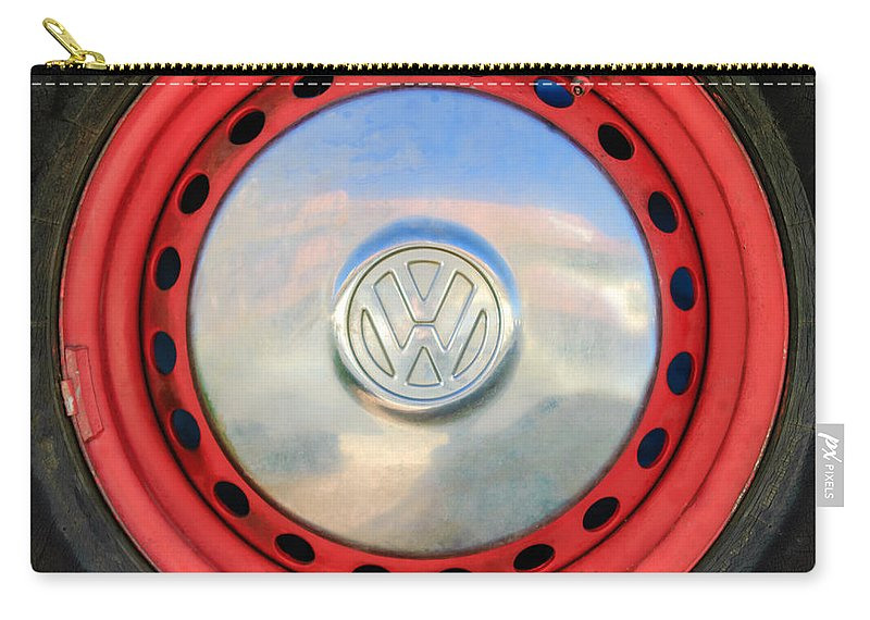 Volkswagen Vw Wheel Emblem Carry-all Pouch featuring the photograph Volkswagen Vw Wheel Emblem by Jill Reger