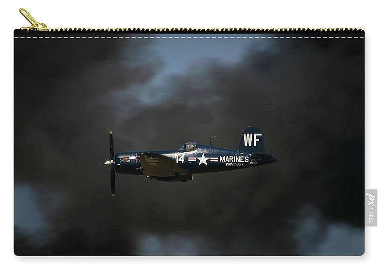 3scape Carry-all Pouch featuring the photograph Vought F4u Corsair by Adam Romanowicz