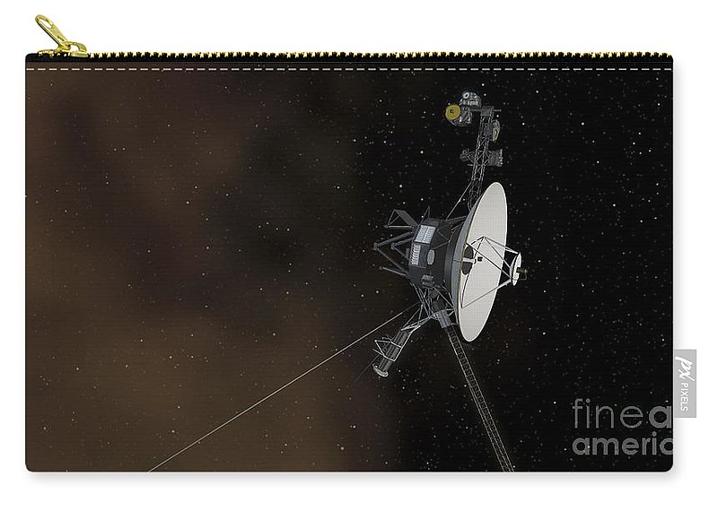 Horizontal Carry-all Pouch featuring the digital art Voyager 1 Spacecraft Entering by Stocktrek Images