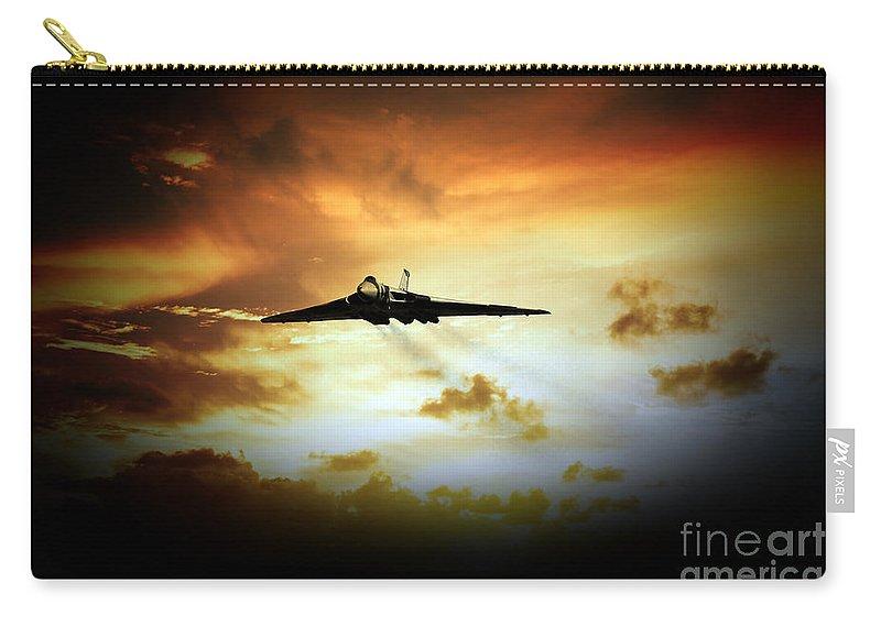 Vulcan Bomber Carry-all Pouch featuring the digital art Vulcan Fire by J Biggadike