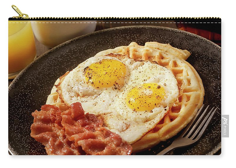 Breakfast Carry-all Pouch featuring the photograph Waffles With Fried Eggs And Bacon by Lauripatterson