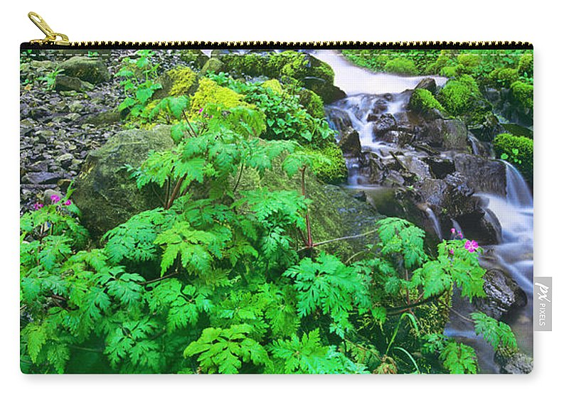 North America Carry-all Pouch featuring the photograph Wahkeena Falls In The Columbia River Gorge by Dave Welling