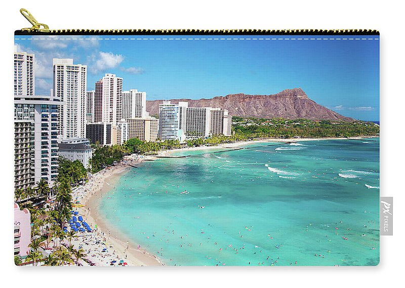 Water's Edge Carry-all Pouch featuring the photograph Waikiki Beach by M Swiet Productions