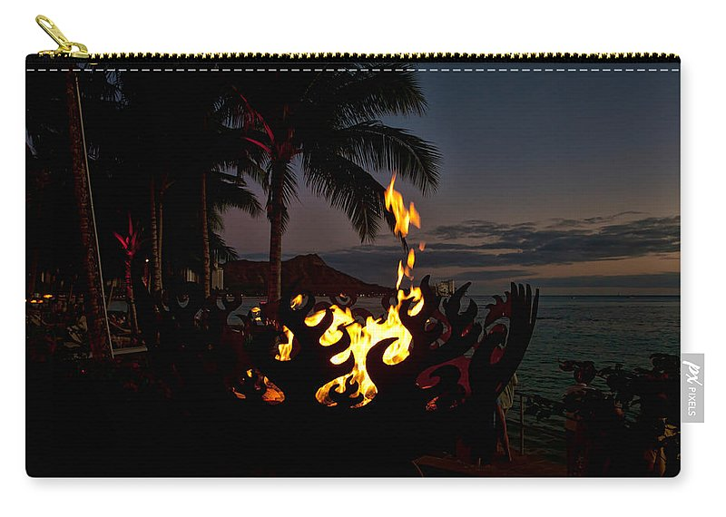 Diamond Head Carry-all Pouch featuring the photograph Waikiki Rumfire by Dan McManus