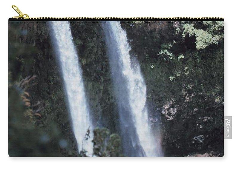 James P. Mcvey Carry-all Pouch featuring the digital art Wailua Waterfall by James P McVey